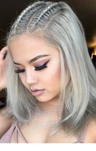Grey hair and nice makeup