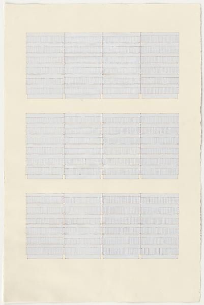 Rachel Whiteread, Library Drawing (1996), Gouache and ink on paper, 39 3/4 x 26 3/8 inches