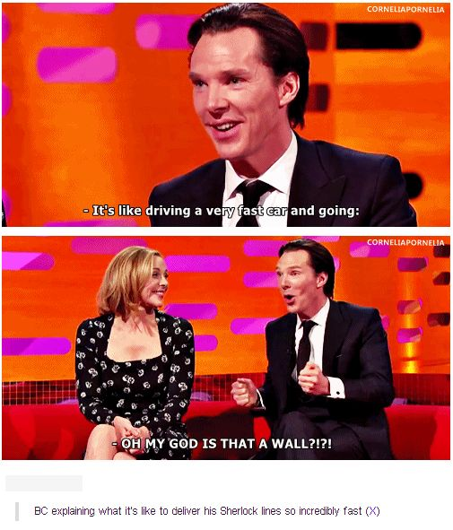 Benedict explaining what it's like to deliver his Sherlock lines so incredibly fast.