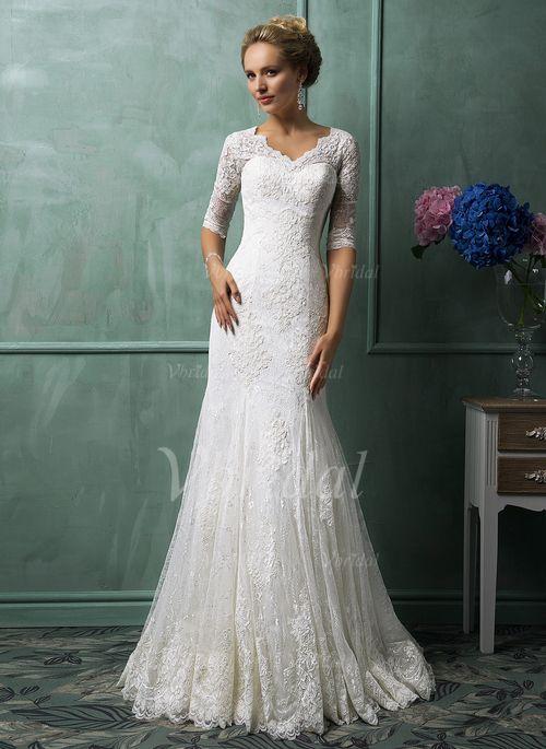 Bröllopsklänningar - $223.71 - Trumpet/Sjöjungfru V-ringning Chapel släp Spetsar Bröllopsklänning (0025102996)