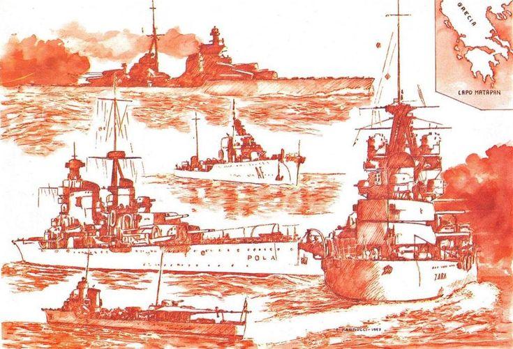 """Cartolina commemorativa di Alberto Parducci, pubblicata nel mensile """"La Tribuna del Collezionista"""", n. 252,  febbraio 1998, a compendio del trafiletto """"Le Navi di Matapan"""""""