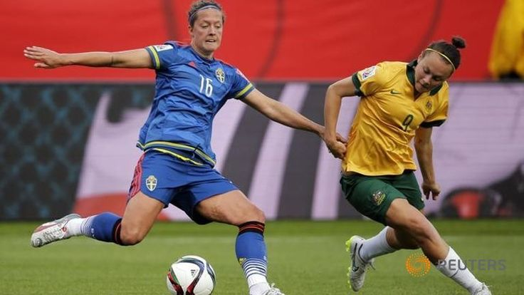 Jun 16, 2015; Edmonton, Alberta, CAN; Sweden defender Lina Nilsson (16) battles for the ball with Australia forward Caitlin Foord (9) during the second half in a Group D soccer match in the 2015 FIFA women's World Cup at Commonwealth Stadium. PHOTO: Reuters/ Erich Schlegel-USA TODAY Sports ▼17Jun2015ChannelNewsAsia|After 'group of death', do-or-die for US and Australia http://www.channelnewsasia.com/news/sport/after-group-of-death-d/1921576.html #2015_FIFA_Womens_World_Cup…