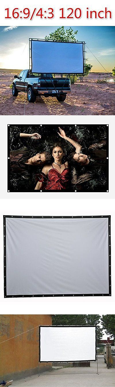 Projection Screens and Material: Nierbo 120 Inch Projector Screen High-Definition Screen Portable White Curtain BUY IT NOW ONLY: $84.59