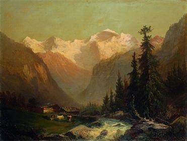 山小屋とアイガー山、メンヒ山、ユングフラウ山