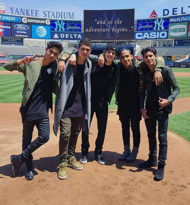 CNCO rehearsing in Yankee Stadium for their performance of the National Anthem in tomorrow's game 05/24/2016