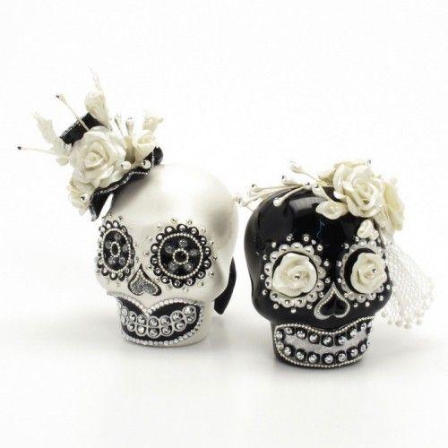 Black  White Day of Dead Theme Wedding Cake Topper Handmade Love Never Die Couple Sugar Skull 00137