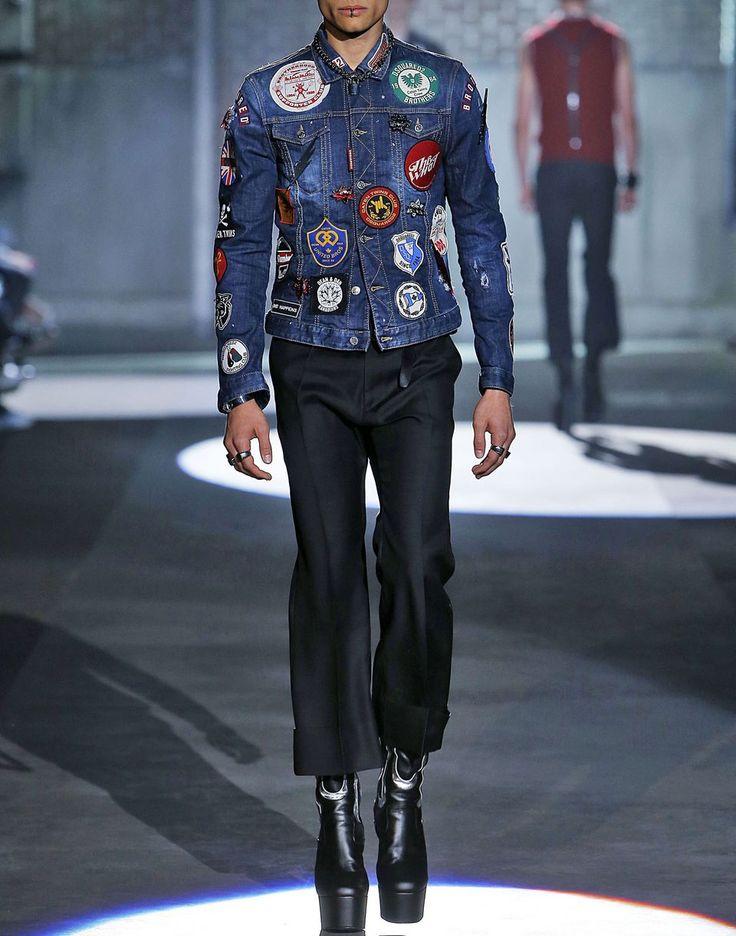 patch denim jacket coats & jackets Man Dsquared2