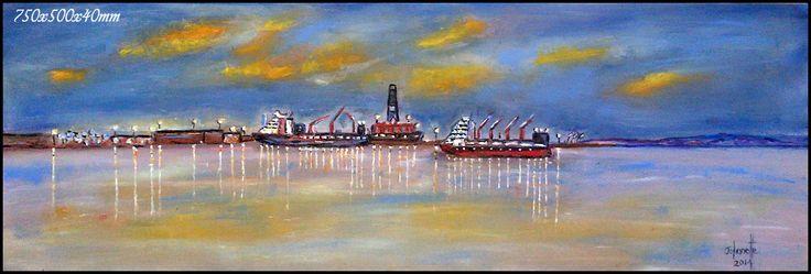 94Ysteretskaai Blouwaterbaai Saldanha Oil Painting Stretched Canvas 760x500x40mm