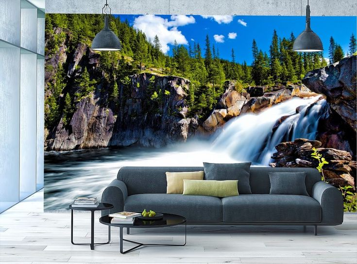 PHOTO WALLPAPER MURAL Waterfall Norway WALL ART DECOR Forest Water Giant Poster #Unbranded