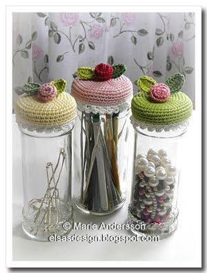 Luty Artes Crochet: Vidros decorados com crochê