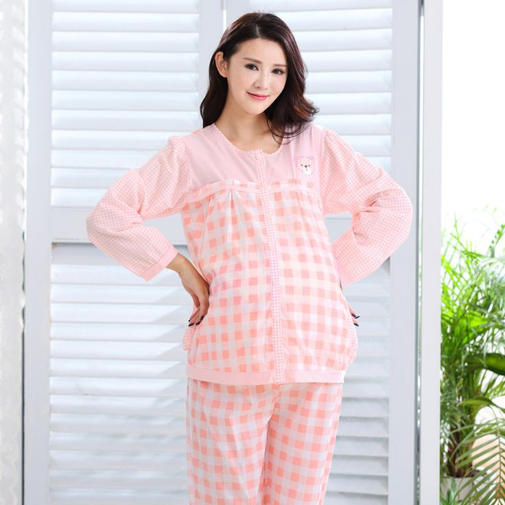 Maternity Nursing Pajamas Breastfeeding Outfits Clothes Pregnancy Plus Size Sleepwear for Pregnant Women Pink Plaid Nursing Sets #Affiliate