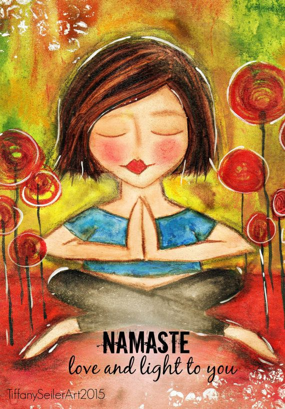 Love and Light to you NAMASTE yoga Art Card or PRINT you choose