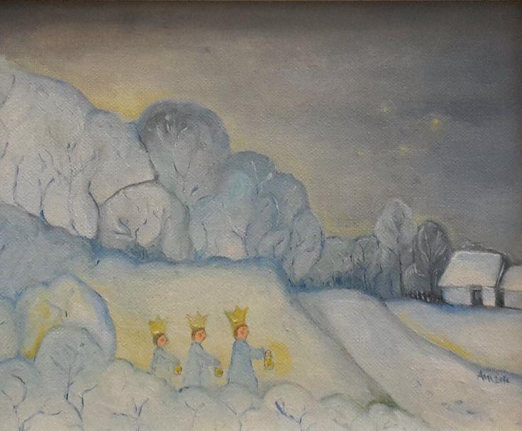 Večer trojkráľový Three Kings (Olejomaľba na plátne, oilpainting on canvas)