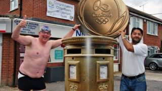 Diver Chris Mears's Rio win marked by fake gold postbox