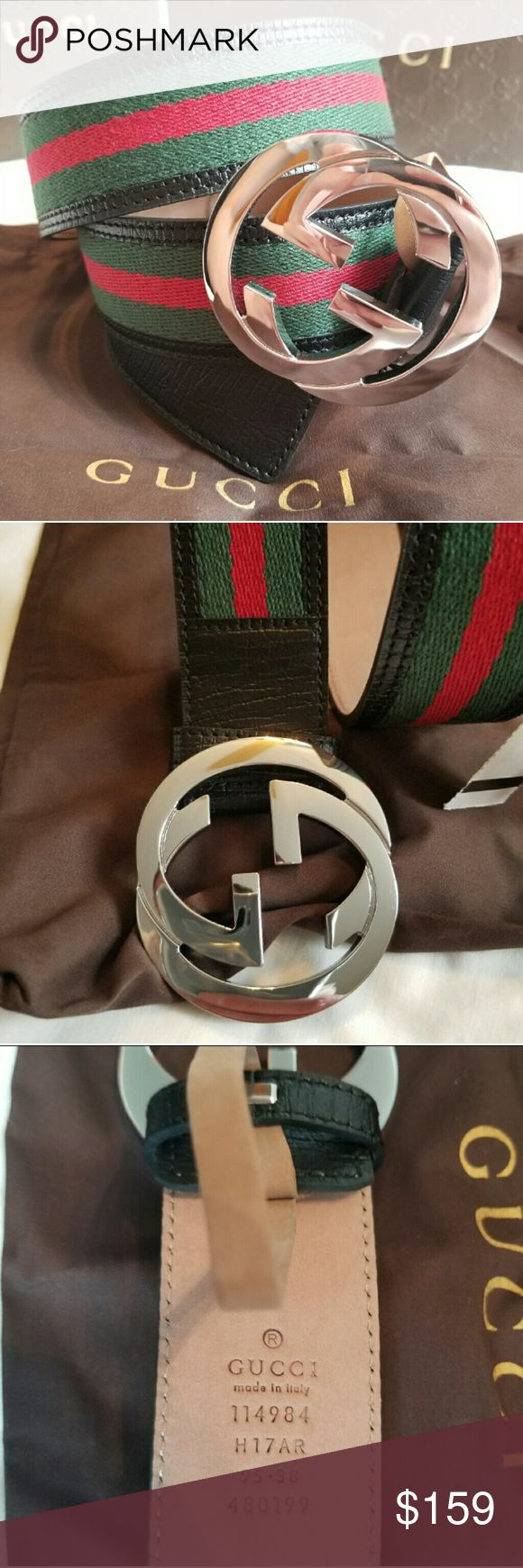 Authentic Gucci Belt Black Green Red Stripes Brand New Gucci Belt Black Green Red Stripes with Silver GG Buckle. HOT! Comes with tags, dust bag and box. Fast same day Shipping via USPS. All reasonable offers accepted. Gucci Accessories Belts