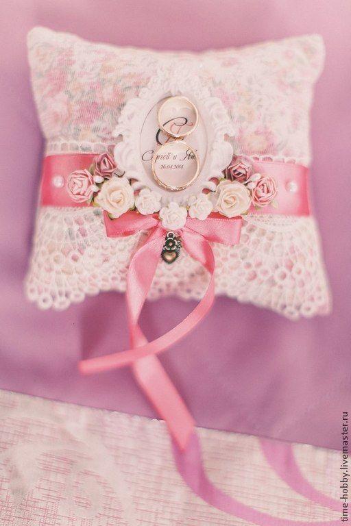 """Купить Подушечка для колец """"Шебби"""" розовая - розовый, шебби шик, подушечка для колец, подушечка для загса"""