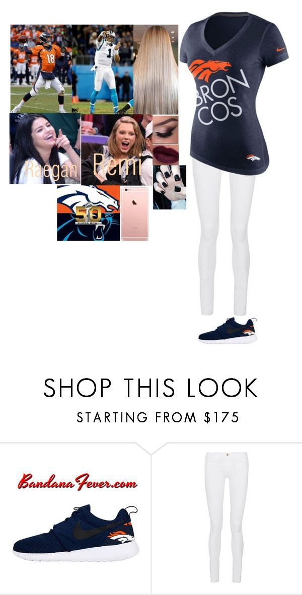 """""""At the Super Bowl with Raegan"""" by riley-497 ❤ liked on Polyvore featuring NIKE, Frame Denim, women's clothing, women, female, woman, misses and juniors"""