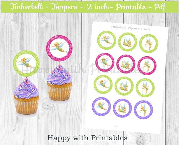 Tinkerbell cupcake Toppers  Tinkerbell cake toppers