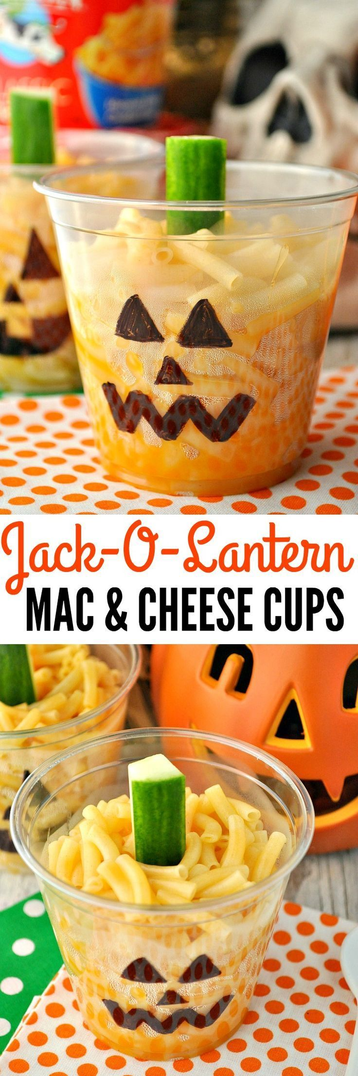 Jack-O-Lantern Mac & Cheese Cups are a fun and easy Halloween lunch, dinner…