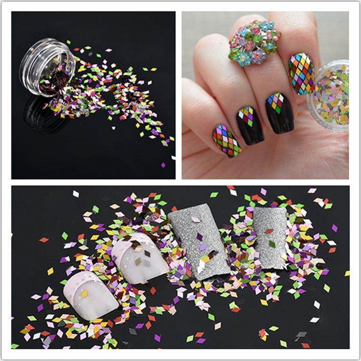 1 Box Nail art Glitter Pulver Gemischt Raute Funkelnder Diamant Pailletten Nagelkunstwerkzeuge Bunten Kunst Dekorationen