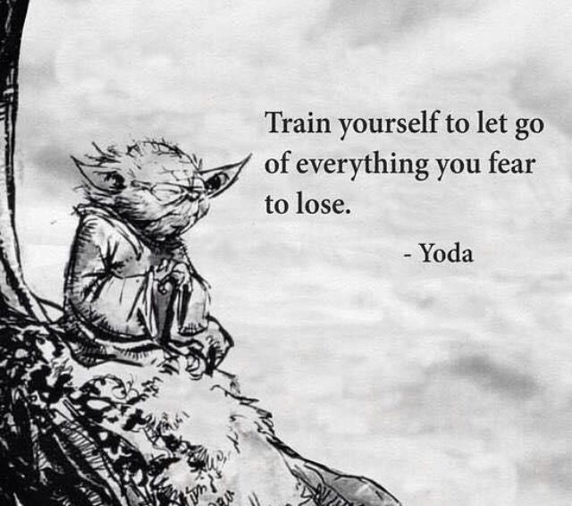 'Train yourself to let go of everything you fear to lose', the Wisdom of Yoda, the Jedi Buddha, Star Wars.