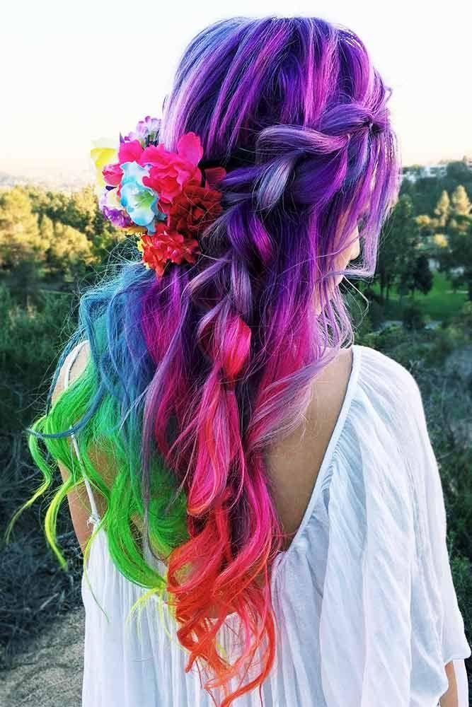 21 Rainbow Hair Styles to Look Like a Unicorn ★ Stunning Hairstyle Ideas for Rainbow Hair Picture 3 ★ See more: http://glaminati.com/rainbow-hair/ #rainbowhair #rainbowhairpastel