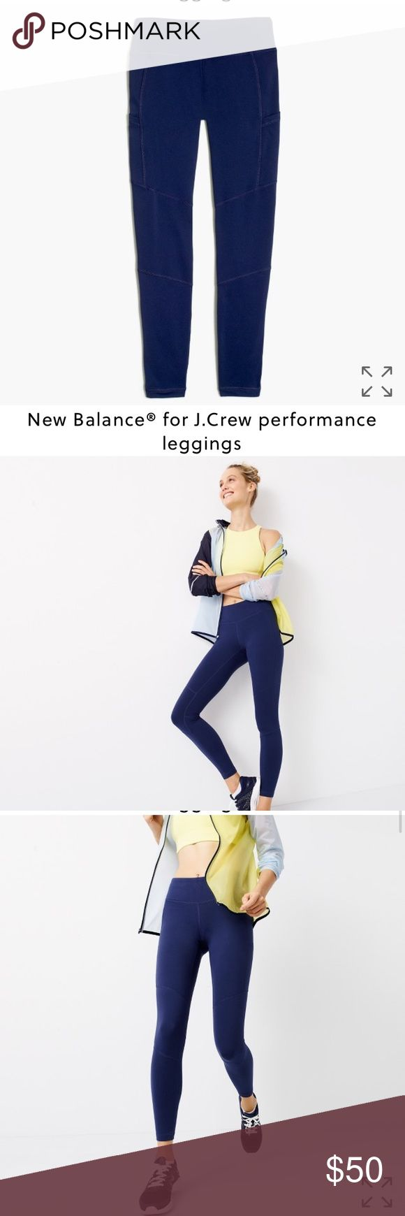 """New Balance® for J.Crew performance leggings NWT/ SIZE & FIT 28"""" inseam.  PRODUCT DETAILS We partnered with our friends at New Balance to bring you our first-ever collection of workout clothes—in techy fabrics and unique colors and prints. These full-length leggings feature flattering contoured seams and moisture-wicking NB Dry fabric (plus an antimicrobial treatment that's odor resistant). Added bonus: slim side pockets for carrying your key and I.D.   Nylon/Lycra® spandex. Side pockets…"""