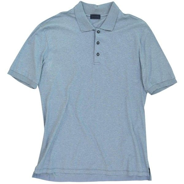 Pre-owned Lanvin Polo Shirt ($198) ❤ liked on Polyvore featuring men's fashion, men's clothing, men's shirts, men's polos, blue, men clothing polo shirts, mens long sleeve polo shirts, mens ribbed shirt, mens blue short sleeve shirt and mens short sleeve polo shirts