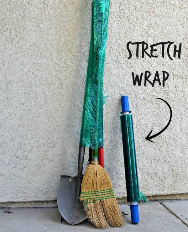 Pick up stretch wrap at most places that sell moving supplies and use it to keep long unpack-able items together.