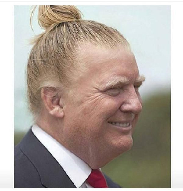 Donald Trump and his man bun. Put him in a dress, he looks like a sweet old lady from Kansas. Lol