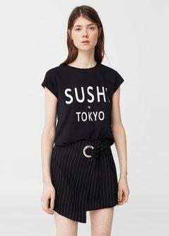 T-shirt coton message -  Femme | MANGO France