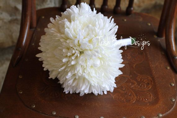 White Chrysanthemum Wedding Bouquet by TrishBaileyDesigns on Etsy, $95.00