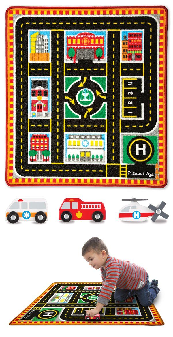 Round The City Rescue Rug & Vehicle Set: This colorful play rug comes with four rescue vehicles ready to swoop in whenever there's an emergency! Big enough for trains, chunky play figures, and vehicles of all kinds, the woven rug features a cityscape complete with hospital, fire station, helipad, police station, apartment buildings, and more, all conveniently connected by a two-lane road. Durably made to look great for countless playtimes to come, this rug lays a clear path to imagination!