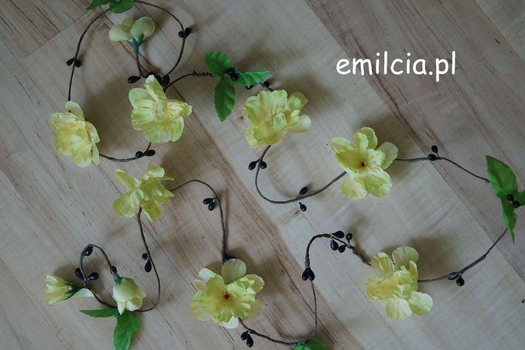 Girlanda kwiatowa Ozdoby Ozdoba do włosów Ślub, Bal, Studniówka, Wedding Girlanda kwiatowa ozdoba do włosów 110 cm
