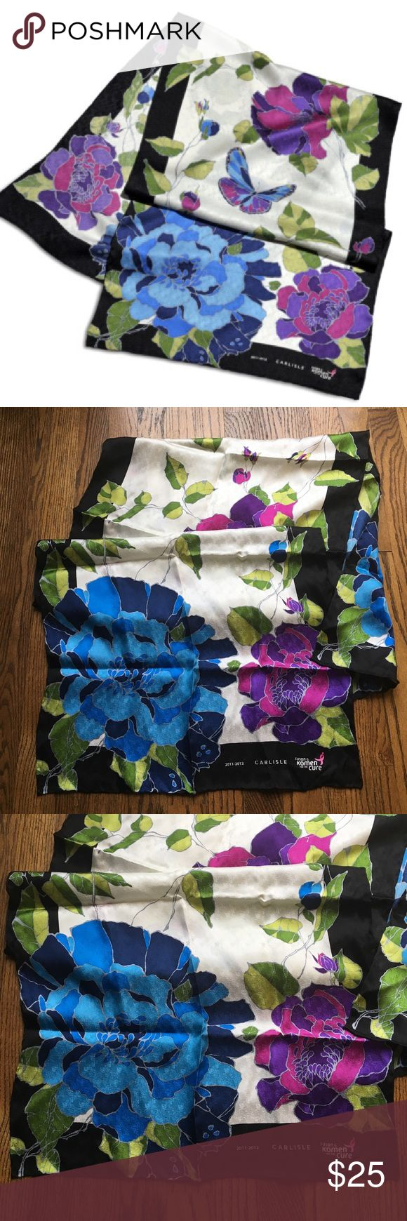 Carlisle Collection Fabric of Hope 100%silk scarf Carlisle Collection Fabric of Hope silk scarf  program created partnership with Susan G. Komen for the Cure® . This is the 2011-2012 design featuring a floral and butterfly design in royal blue, fuchsia, green and purple. Accessories Scarves & Wraps