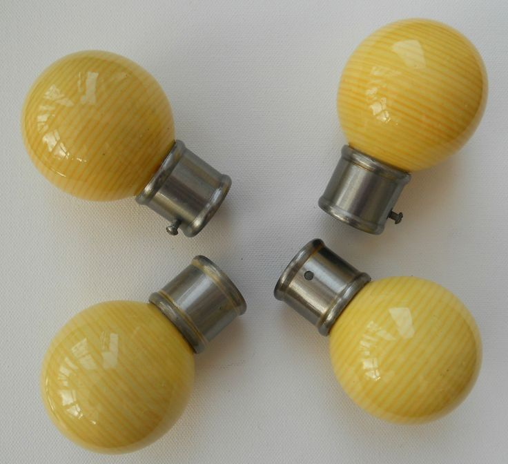 4 YELLOW CERAMIC BALLS FOR CURTAIN POLE ENDS ~ SOLD ON MY EBAY SITE LUBBYDOT1