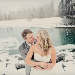 Vintage inspired grey and yellow wedding in the breathtaking Canadian Rockies.