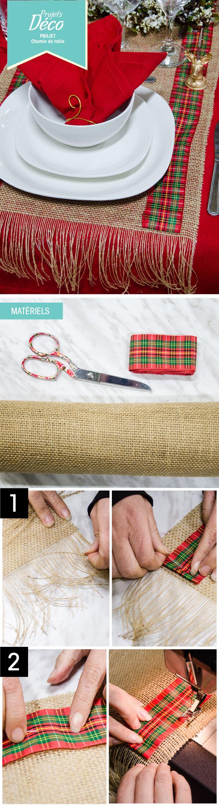 Un chemin de table pour Noël! #DIY #couture #déco #decor #christmas #carreaux #jute  http://clubtissus.com/articles-blog/articles-decoration/projet-chemin-de-table