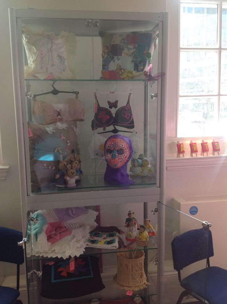 This cabinet is full of crafts created by those affected by breast cancer.  The categories can be found on our website.  Winners are selected by public vote during the tour of the exhibition.