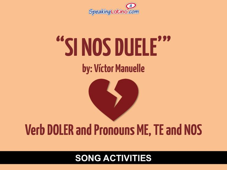Si nos duele by Victor Manuelle: Spanish Song to Practice DOLER and Pronouns ME, TE and NOS #SpanishClass #SpanishSongs