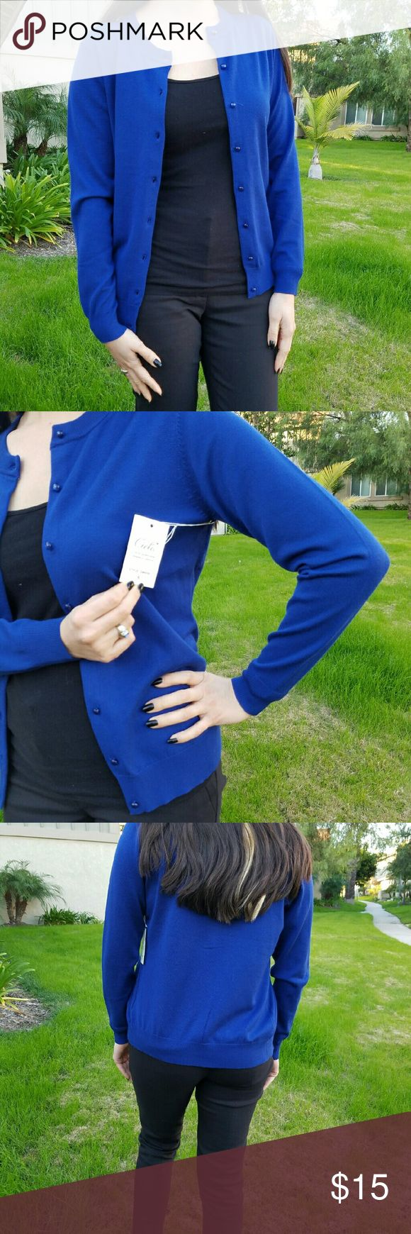 Royal blue cardigan Brand: Cielo  Size: Small Condition: New with tags  No flaws.  Same day/next day shipping:) questions? Ask me! Cielo Sweaters Cardigans