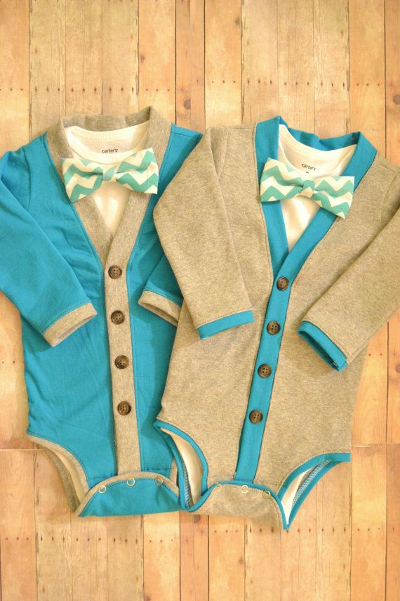 Twin Baby Cardigan One Piece Set Turquoise and by TheHumbleLemon, $65.00