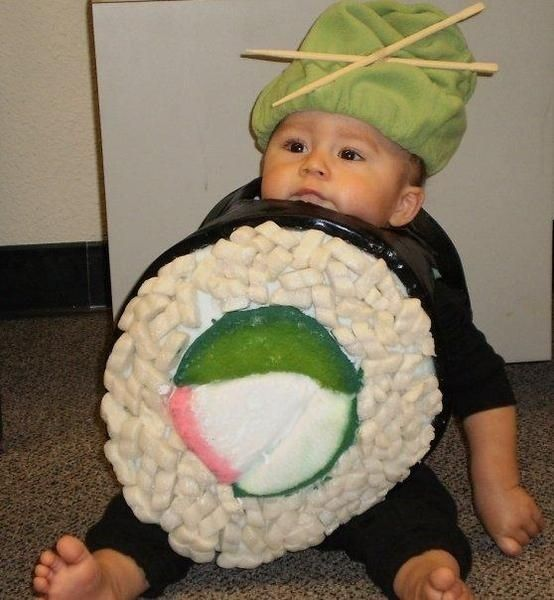 30 Photos Of Babies Dressed As Food: Babies, Sushi Baby, Dollar Stores Crafts, First Halloween, Kids Halloween Costumes, Crafts Blog, Sushi Rolls, Costumes Ideas, Kids Food