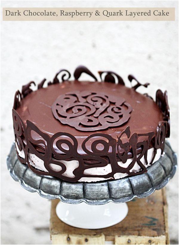 Dark Chocolate, Raspberry & Quark Layered Cake love the chocolate swirl around the cake