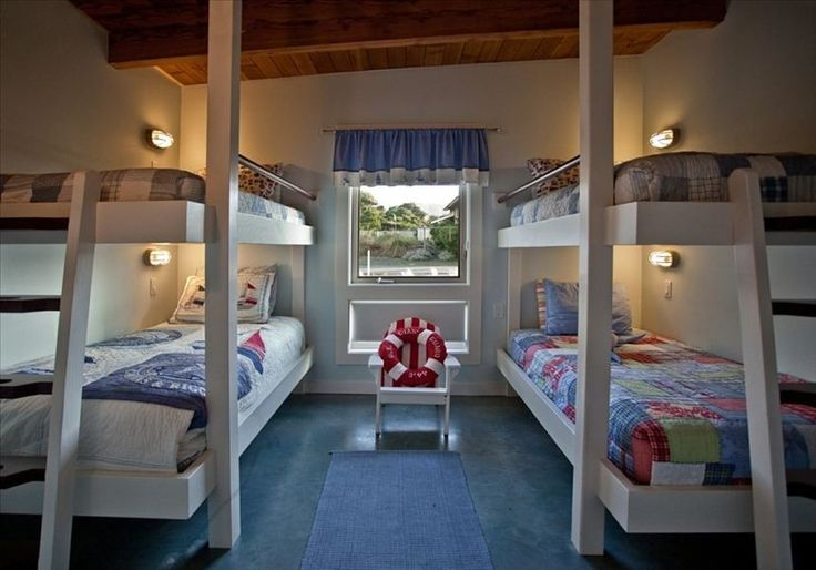 Nautical bunk room: 4 twin beds each with individually switched reading light