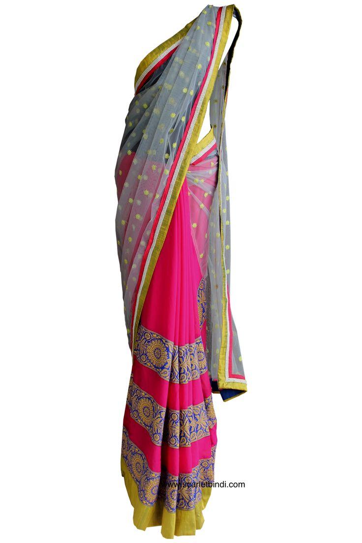 Pret'i by Priti Sahni | Grey and Pink Saree | SCARLETBINDI.COM