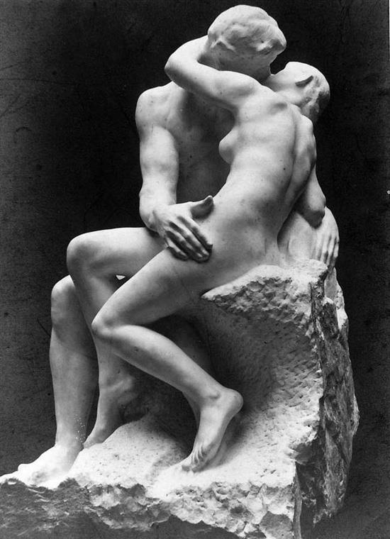 """The Kiss"" by French sculptor Auguste Rodin,1889 Rodin had this amazing ability to show balance and even to ""deny"" the frozen fact of sculpture; to make you think they were, in fact, living, moving beings.  Cool, huh?"