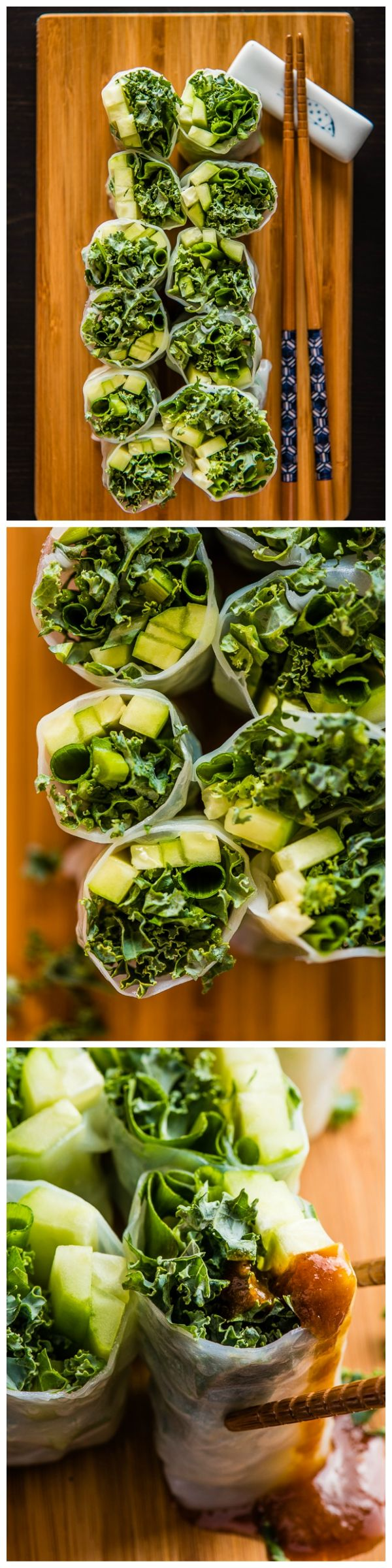 Summer Kale Rolls - Try dipping this skinny roll in homemade hoisin sauce once, and you'll enjoy eating healthy food all the time!
