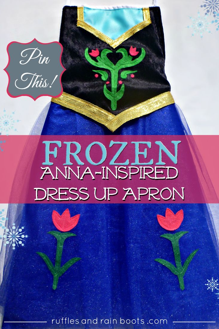 From Ruffles and Rain Boots: $20 DIY Tutorial for a Princess Anna Dress Up Apron inspired by Disney's Frozen movie