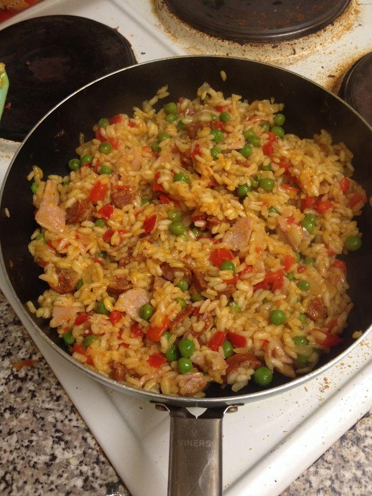 Homemade chorizo and bacon paella (paella rice, stock ...